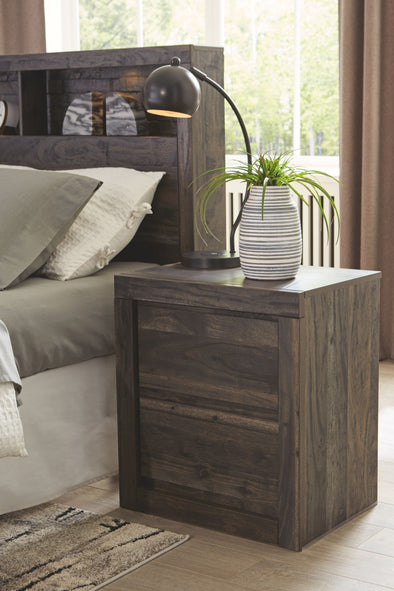 Vay Bay - Charcoal - Two Drawer Night Stand