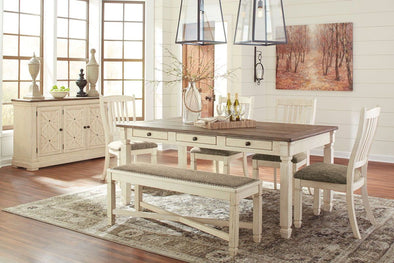 Bolanburg - Antique White - 7 Pc. - RECT DRM Table, 4 UPH Side Chairs, UPH DRM Bench & DRM Server