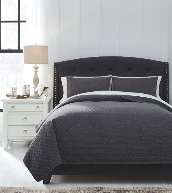 Ryter - Charcoal - Queen Coverlet Set