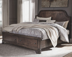 Adinton - Brown -  Panel Bed with Storage