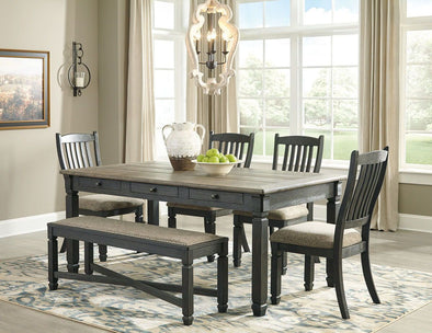 Tyler Creek - Black/Gray - 6 Pc. - RECT DRM Table, 4 UPH Side Chairs & UPH Bench
