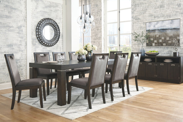 Hyndell - Dark Brown - 10 Pc. - RECT DRM EXT Table, 8 UPH Side Chairs & Server