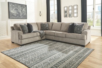 Bovarian - Stone - LAF Sofa with Corner Wedge, Armless Chair & RAF Loveseat Sectional