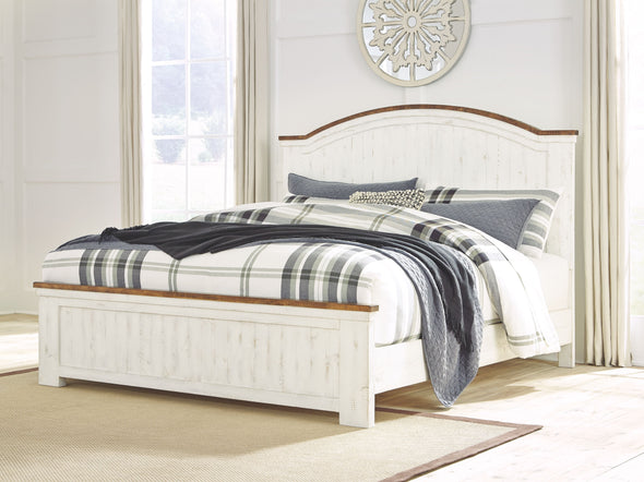 Wystfield - White/Brown -  Panel Bed
