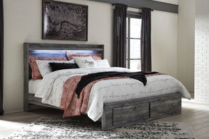 Baystorm - Gray -  Panel Bed with Footboard Storage