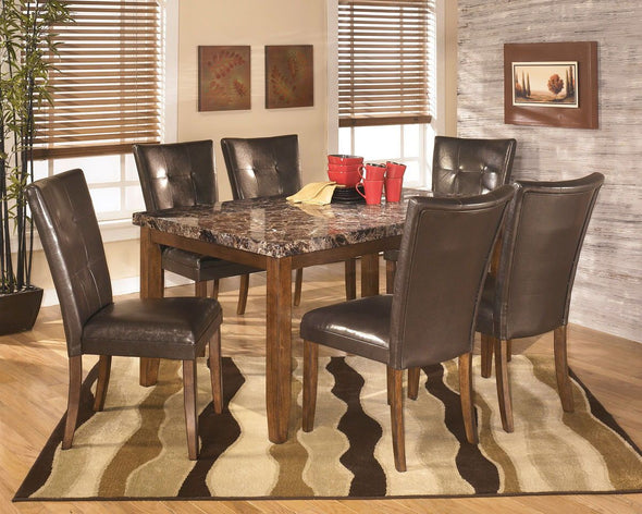Lacey - Medium Brown - 7 Pc. - RECT DRM Table & 6 UPH Side Chairs