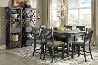 Tyler Creek - Black/Gray - 9 Pc. - RECT DRM Counter Table, 6 UPH Barstools & 2 Display Cabinets
