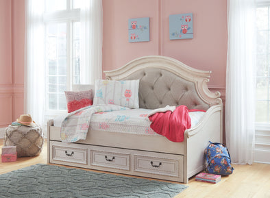 Realyn - Chipped White -  Day Bed with Storage