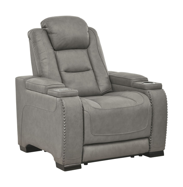 The Man-Den - Gray - PWR Recliner/ADJ Headrest
