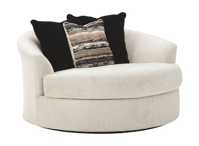 Cambri - Snow - Oversized Round Swivel Chair