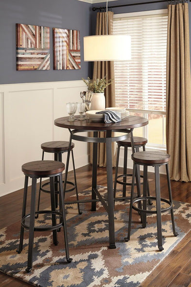 Challiman - Rustic Brown - 5 Pc. - Round DRM Bar Table & 4 Tall Stools