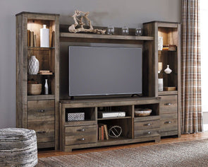 Trinell - Entertainment Center - Large TV Stand, 2 Tall Piers & Bridge