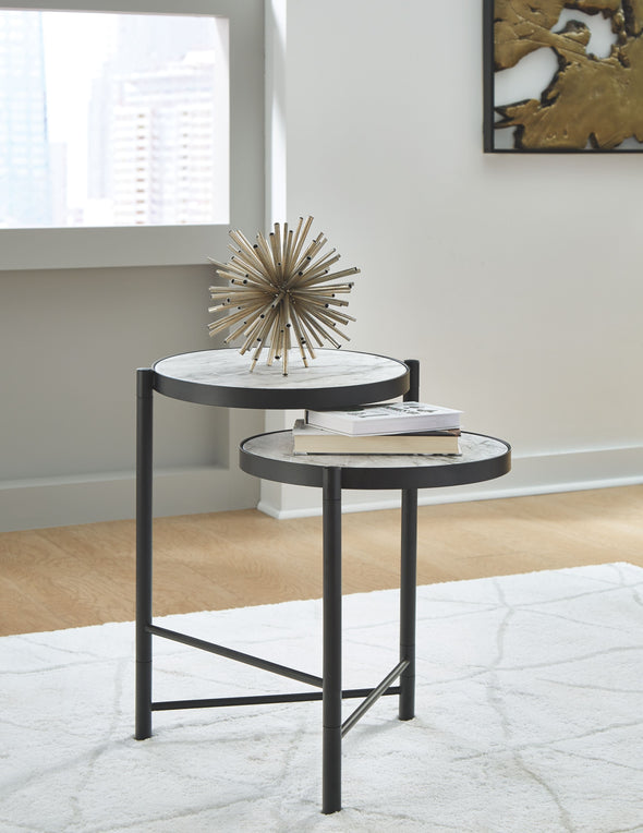 Plannore - Black/White - Round End Table