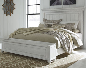 Kanwyn - Whitewash -  Panel Bed with Storage