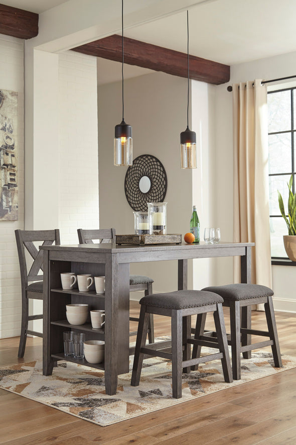 Caitbrook - Dark Gray - 5 Pc. - RECT DRM Counter Table, 2 UPH Stools & 2 UPH Barstools
