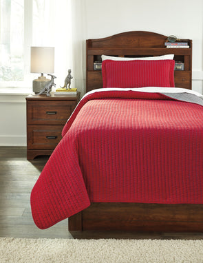 Dansby - Red/Gray -  Coverlet Set