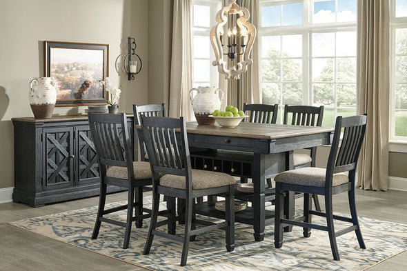 Tyler Creek - Black/Gray - 8 Pc. - RECT DRM Counter Table, 6 UPH Barstools & Server