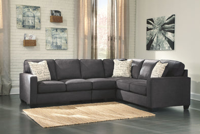 Alenya - Charcoal - LAF Loveseat, Armless Chair & RAF Sofa Sectional