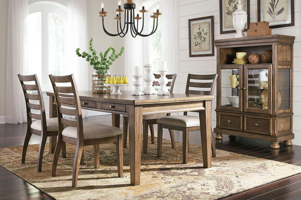 Flynnter - Medium Brown - 6 Pc. - RECT DRM Table, 4 UPH Side Chairs & Curio Cabinet