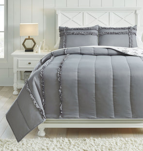 Meghdad - Gray/White -  Comforter Set