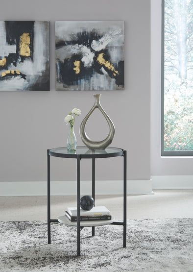 Zalany - Black/White - Round End Table