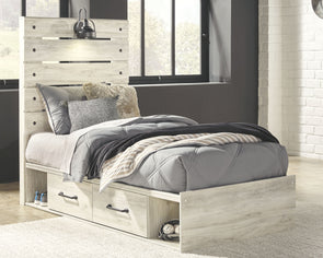 Cambeck - Whitewash -  Panel Bed with 2 Storages