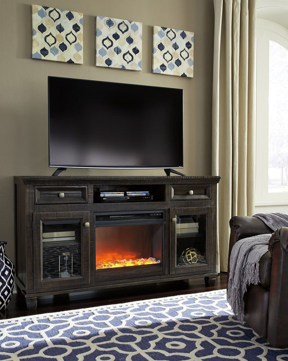 Townser - Grayish Brown - LG TV Stand with Fireplace Insert Glass/Stone