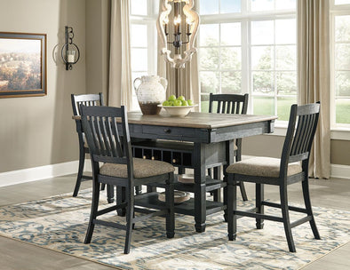 Tyler Creek - Black/Gray - 5 Pc. - RECT DRM Counter Table & 4 UPH Barstools