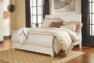 Willowton - Whitewash -  Sleigh Bed