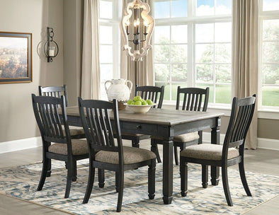 Tyler Creek - Black/Gray - 7 Pc. - RECT DRM Table & 6 UPH Side Chairs