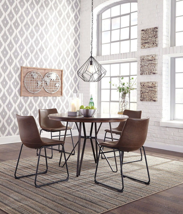 Centiar - Two-tone Brown - 5 Pc. - Round DRM Table & 4 UPH Side Chairs
