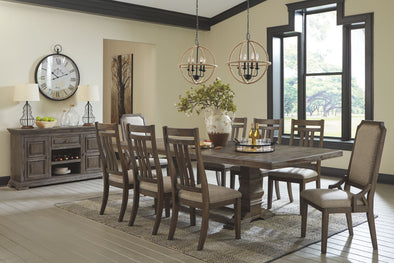 Wyndahl - Rustic Brown - 11 Pc. - RECT DRM EXT Table, 6 UPH Side Chairs, 2 UPH Side Chairs & Server