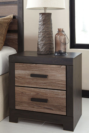 Harlinton - Warm Gray/Charcoal - Two Drawer Night Stand