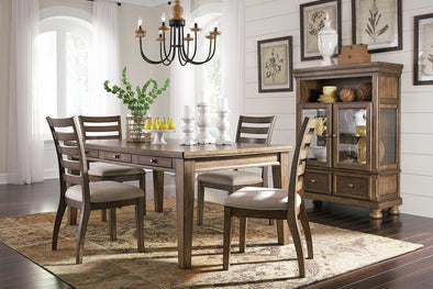 Flynnter - Medium Brown - 5 Pc. - RECT DRM Table & 4 UPH Side Chairs