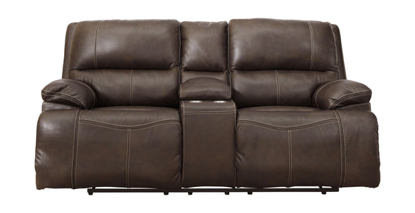 Ricmen - Walnut - PWR REC Loveseat/ADJ Headrest
