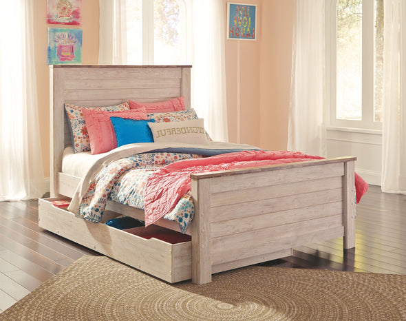 Willowton - Whitewash -  Panel Bed with Trundle Under Bed Storage