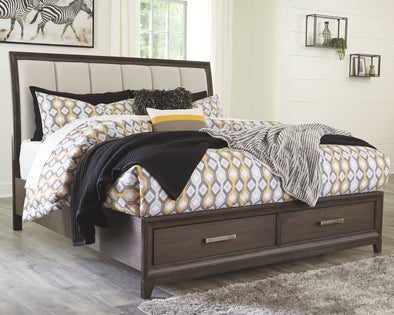 Brueban - Rich Brown/Gray -  Panel Bed with Storage