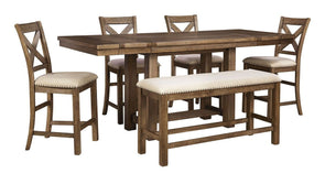 Moriville - Gray - 6 Pc. - RECT DRM Counter EXT Table, 4 UPH Barstools & Double UPH Bench
