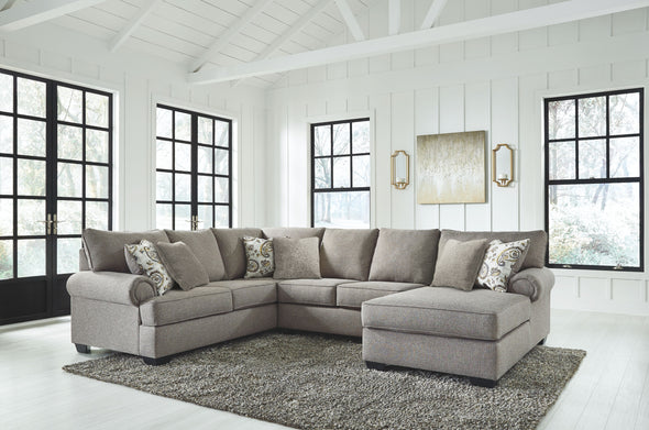 Renchen - Pewter - LAF Sofa with Corner Wedge, Armless Loveseat & RAF Corner Chaise Sectional