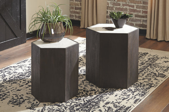 Nanfield - White/Gray - Accent Table Set (2/CN)