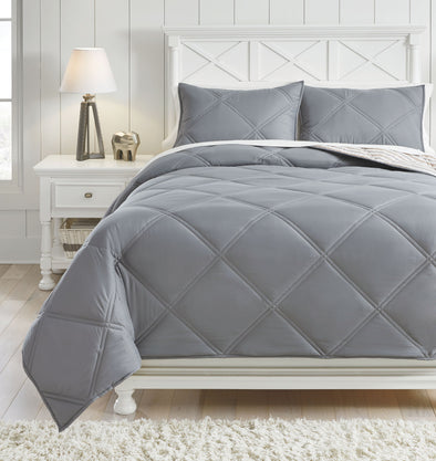 Rhey - Tan/Brown/Gray -  Comforter Set
