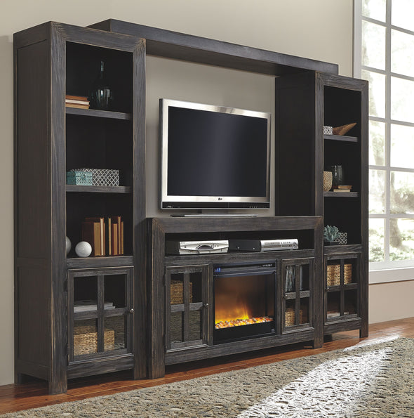 Gavelston - Black - Entertainment Center - Large TV Stand, Left/Right Pier, Bridge with Fireplace Insert Glass/Stone