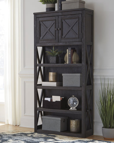 Tyler Creek - Grayish Brown/Black - Large Bookcase