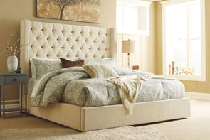 Norrister - Beige -  Upholstered Bed with Storage