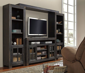 Gavelston - Black - Entertainment Center - Large TV Stand, Left/Right Pier & Bridge