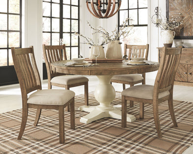 Grindleburg - Light Brown - 7 Pc. - Round DRM Table Top, 4 UPH Side Chairs & Server
