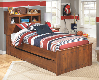 Barchan - Medium Brown -  Bookcase Bed with Trundle Under Bed Storage