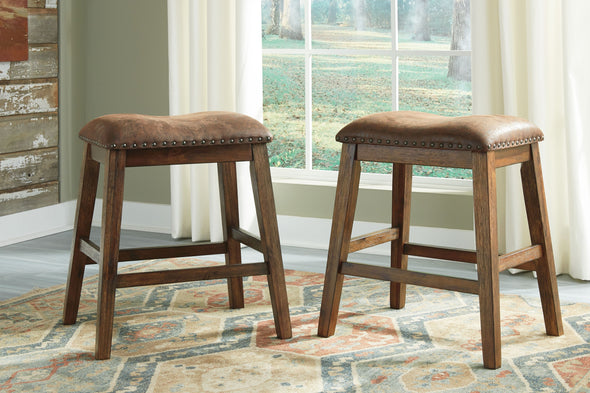 Chaleny - Warm Brown - Upholstered Stool (2/CN)