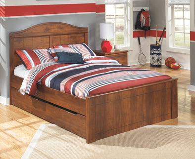 Barchan - Medium Brown -  Panel Bed with Trundle Under Bed Storage