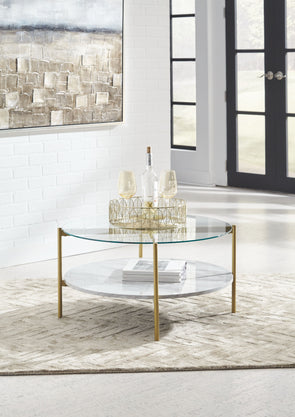 Wynora - White/Gold - Round Cocktail Table